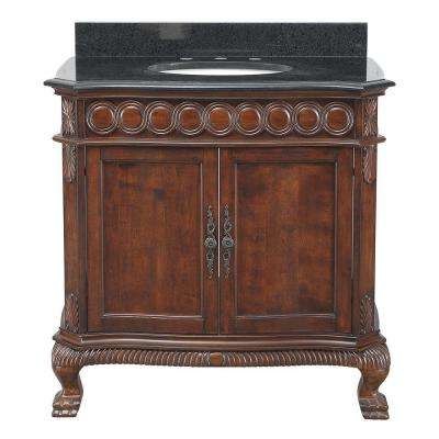 Jordheim 37 in. Vanity in Antique Cherry with Granite Vanity Top in Black and White Basin