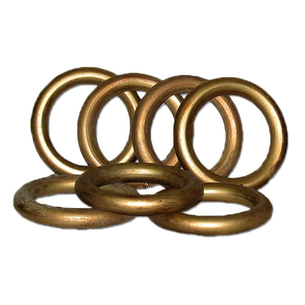 Classic Home 2 in. Historical Gold Wood Rings Set/7 For Use With 2 in. Or 2 1/4 in. Dia. Pole.