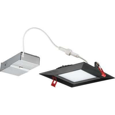 Wafer Square 6 in. Black Integrated LED Recessed Kit