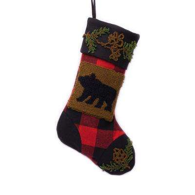 polyesteracrylic plaid christmas stocking with rug hooked bear