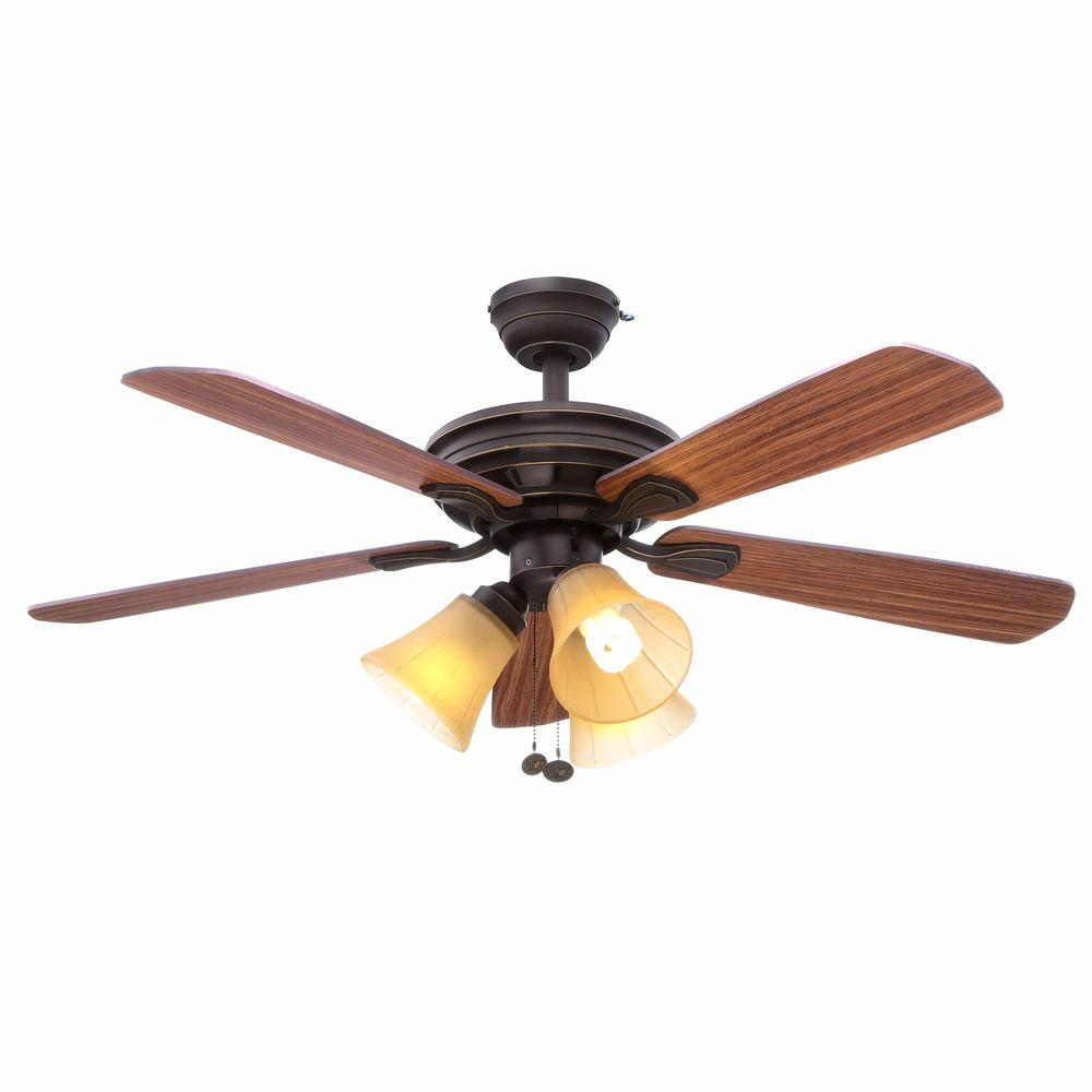 hunter builder deluxe 52 in indoor new bronze ceiling fan with light kit 53091 the home depot. Black Bedroom Furniture Sets. Home Design Ideas