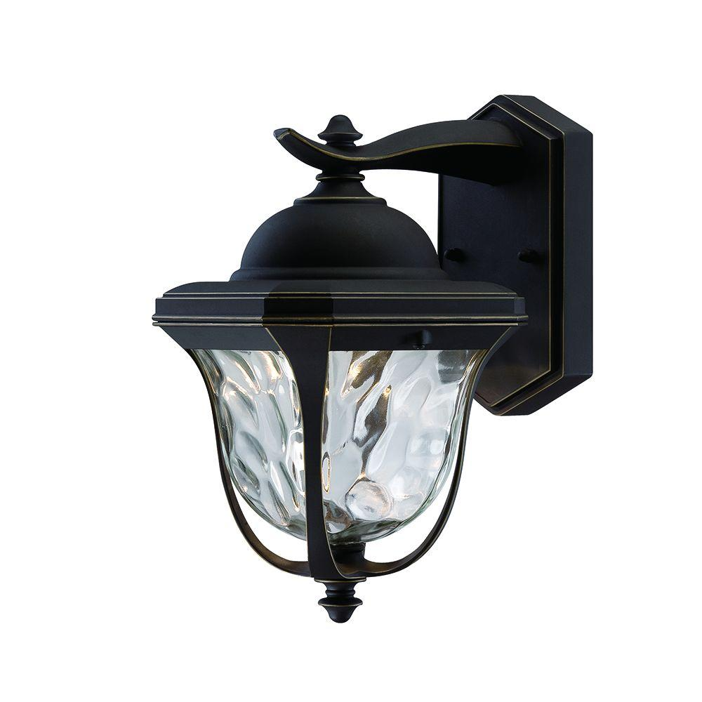 Home Decorators Collection Aged Iron Outdoor LED Wall Lantern With Crackle Glass KB 08304