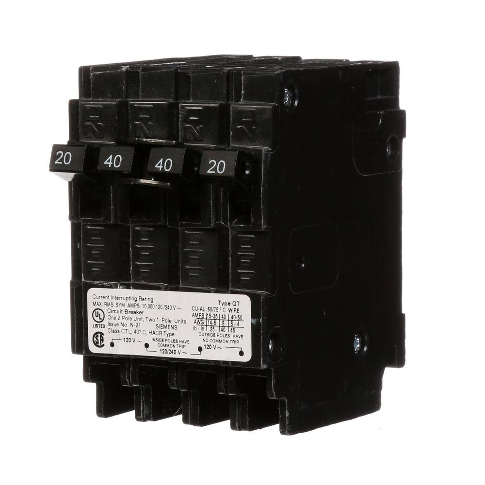 Siemens Triplex Two Outer 20 Amp Single-Pole and One Inner 40 Amp ...