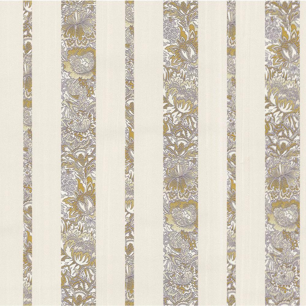 Brewster 8 In X 10 In Certosa Lavender Floral Stripe Wallpaper