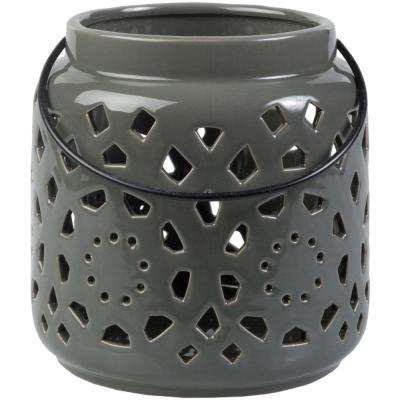 Kimba 6.5 in. Medium Gray Ceramic Lantern