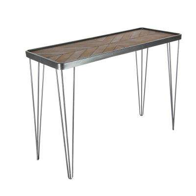 New Traditional Gray and Brown Chevron-Patterned Metal Wood Console Table