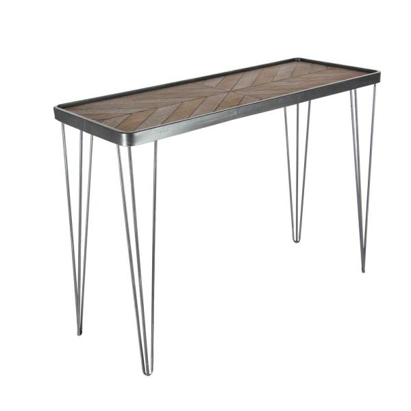 Litton Lane New Traditional Gray and Brown Chevron-Patterned Metal Wood Console