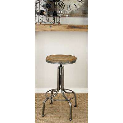 28 in. Gray Metal Bar Stool with Brown Wooden Seat