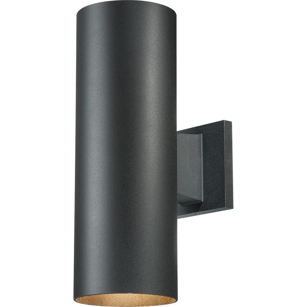 Medium 2-Light Black Aluminum Integrated LED Indoor/Outdoor Wall Mount Cylinder Light/Wall Sconce