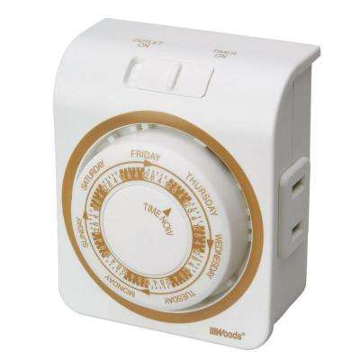 Indoor Mechanical Vacation Timer with Random Security Setting 2-Conductor - White