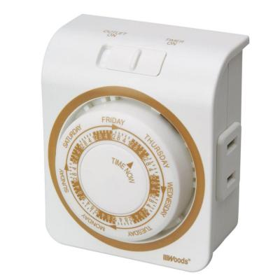 15-Amp 7-Day Indoor Plug-In Dual-Outlet Mechanical Timer, White