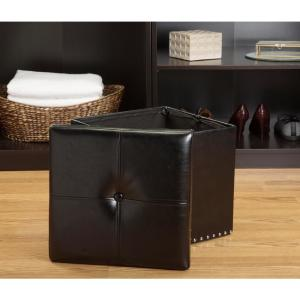 Terrific Simplify Black Single Folding Faux Leather Ottoman Storage Gmtry Best Dining Table And Chair Ideas Images Gmtryco