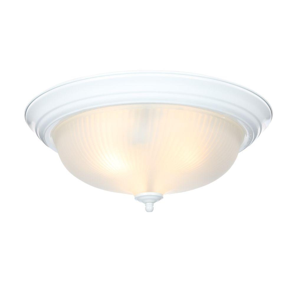 Hampton Bay 15 In 3 Light White Dome Flush Mount With Gl Shade