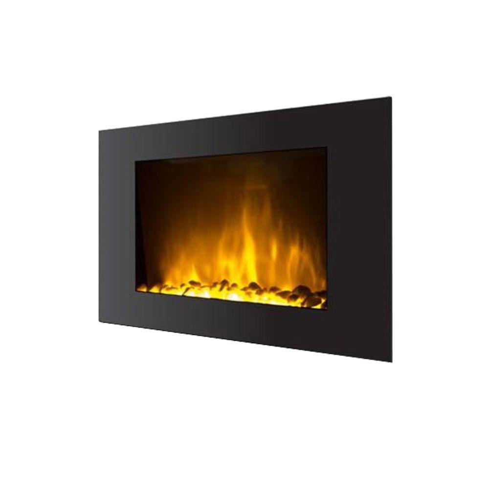 fire sense 30 in wall mount electric fireplace in black 60757