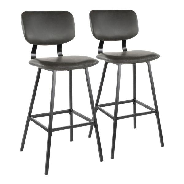 Foundry 30 in. Grey Faux Leather Upholstery Bar Stool (Set of 2)