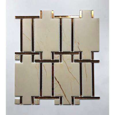Nature Sandstone Versailles Beige 10 in. x 11 in. Decorative Glass & Acrylic Mosaic Wall Tile (0.76 Sq. ft)