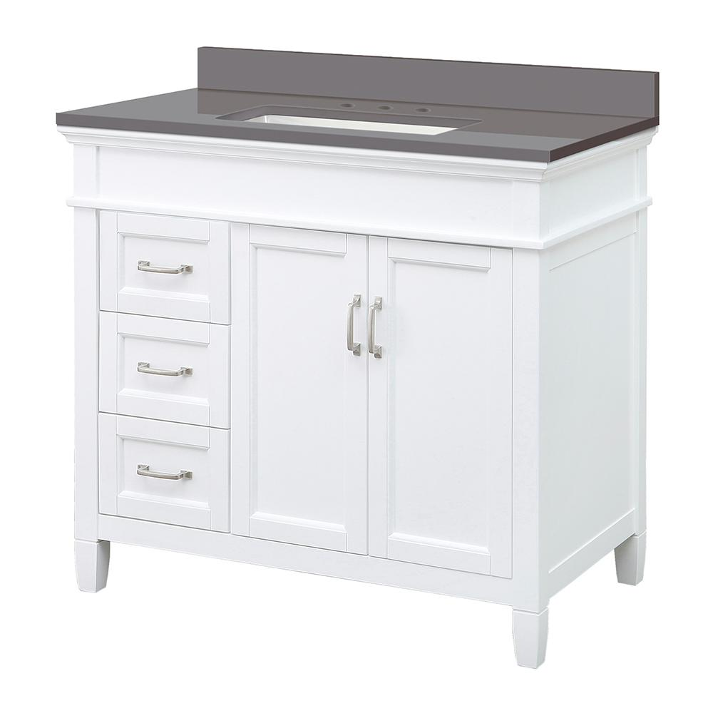 Foremost Ashburn 37 in. W x 22 in. D Vanity Cabinet in White with Engineered Marble Vanity Top in Slate Grey with White Basin