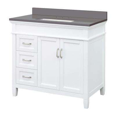 Ashburn 37 in. W x 22 in. D Vanity Cabinet in White with Engineered Marble Vanity Top in Slate Grey with White Basin