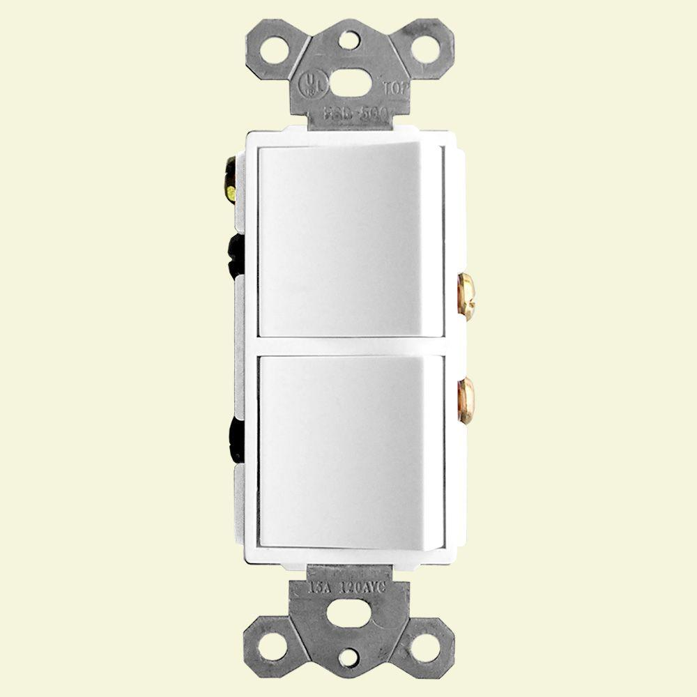 2 Function Rocker Combination Switch In White 120 Volt 15 Amp X2
