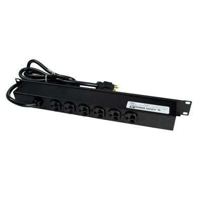 Perma Power 6-Outlet 20-Amp Rackmount Computer Grade Surge Strip with Lighted On/Off Switch, 15 ft. Cord