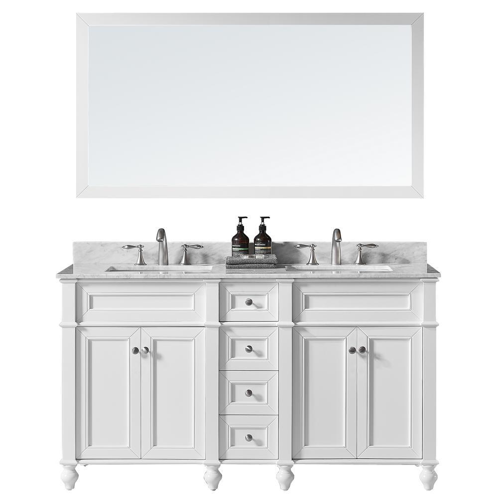Margaux 60 in. W x 22 in. D x 34.2 in. H Bath Vanity in White w/ Marble Vanity Top in White w/ White Basin and Mirror