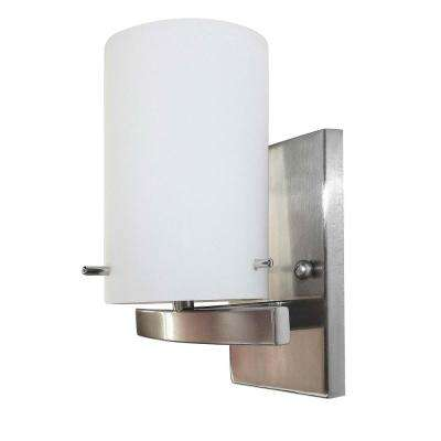 1-Light Brushed Nickel Vanity Lighting with White Frosted Glass LED Integrated