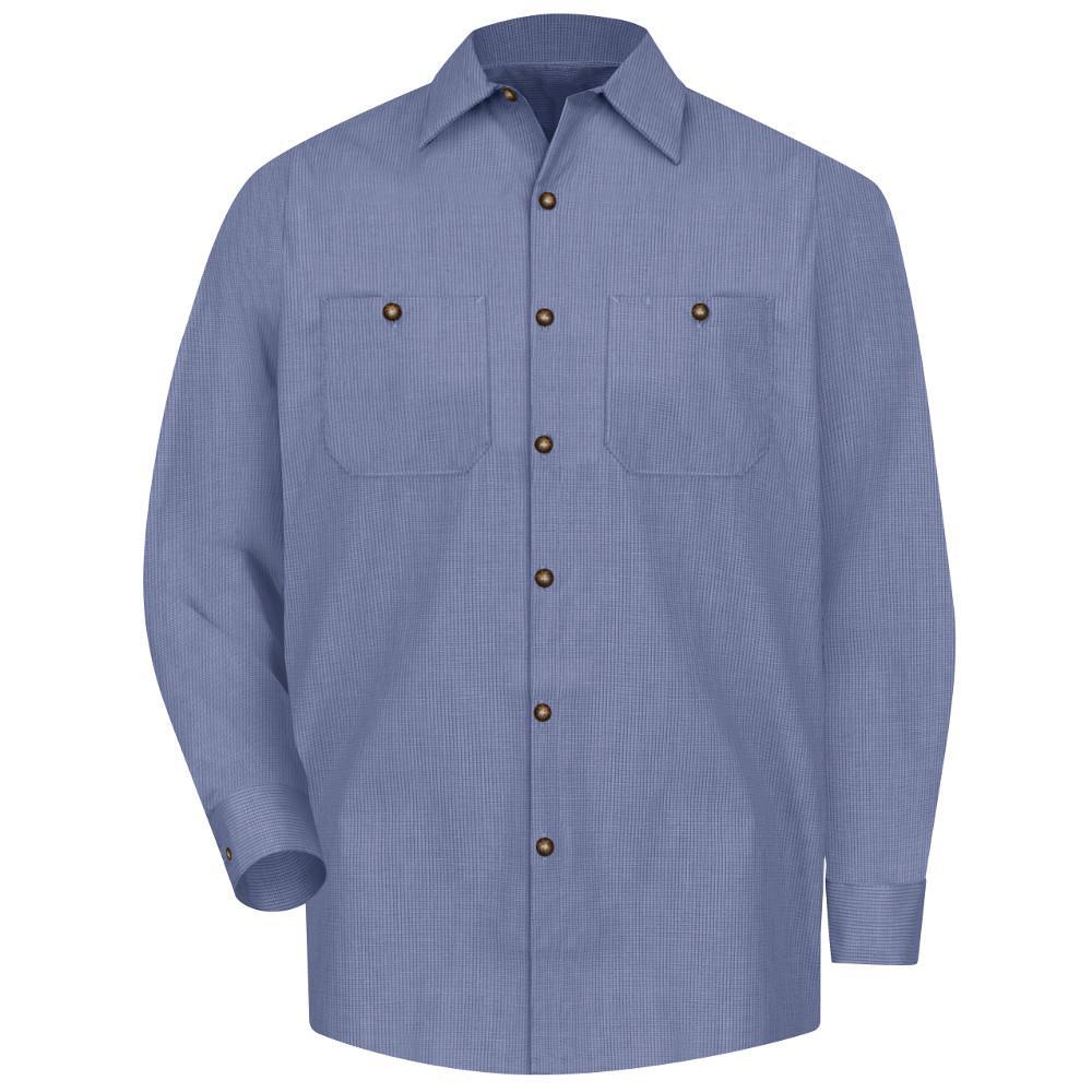 Men's Size XL Denim Blue Microcheck Long-Sleeve Work Shirt