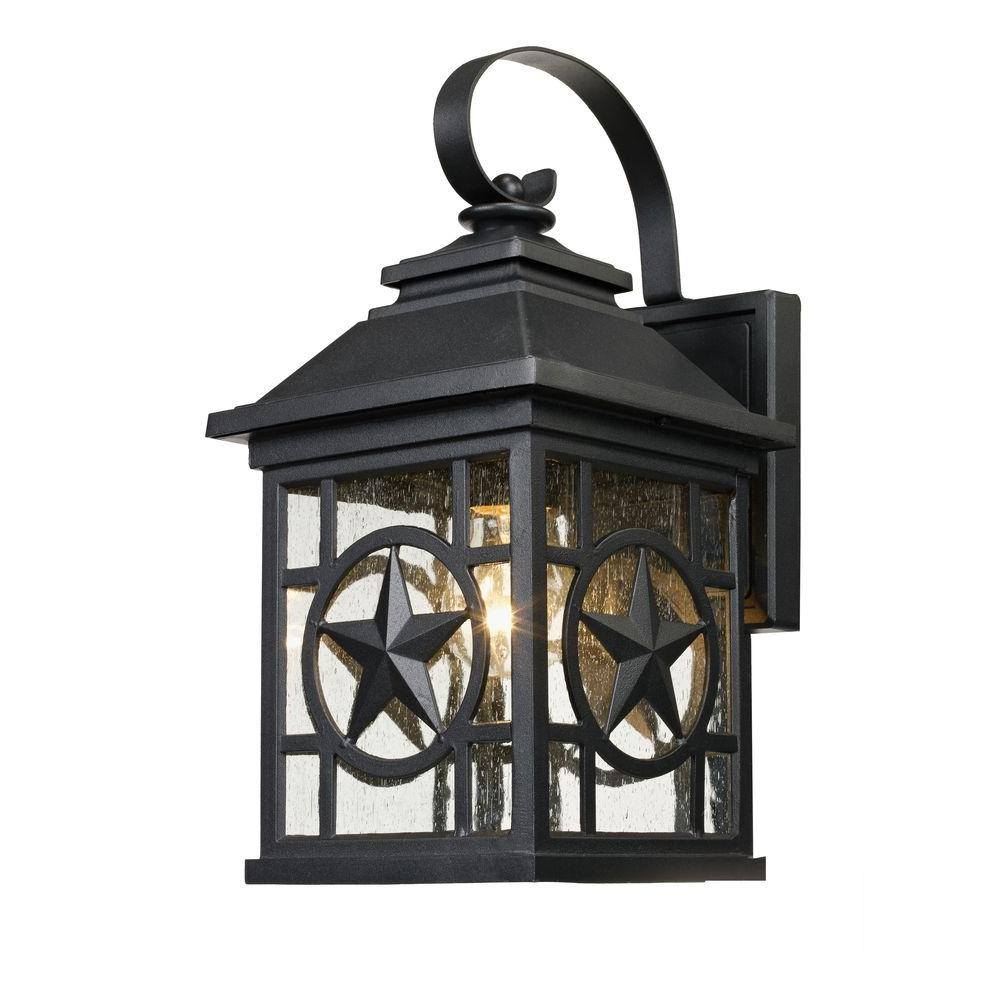 Laredo Texas Star Outdoor Black Medium Wall Lantern 1000