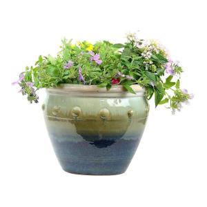 11.5 in. Hobnail Blue Stone Planter