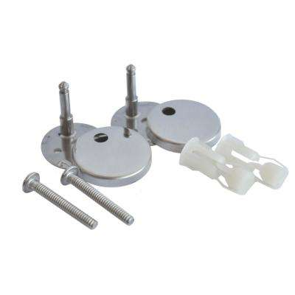 Toilet Seat Bolt Assembly Kit with Polished Chrome Hinge Caps