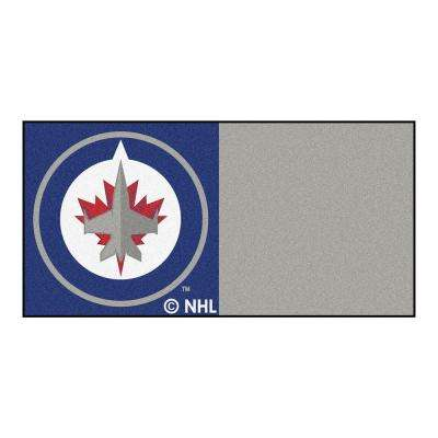 NHL - Winnipeg Jets Blue and Gray Pattern 18 in. x 18 in. Carpet Tile (20 Tiles/Case)