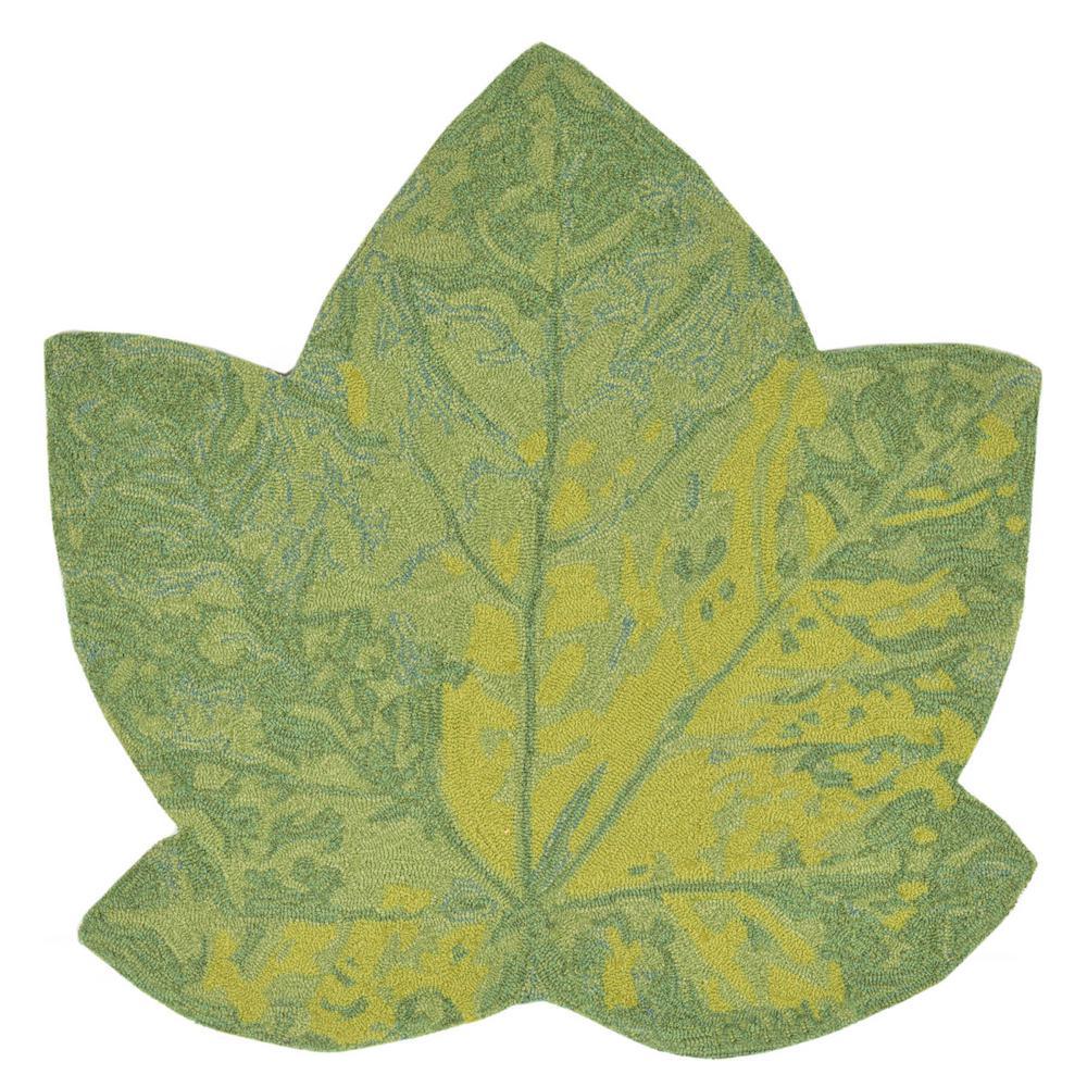 Woodside Canadian Leaf Green 3 Ft X Specialty Indoor Outdoor Area Mat