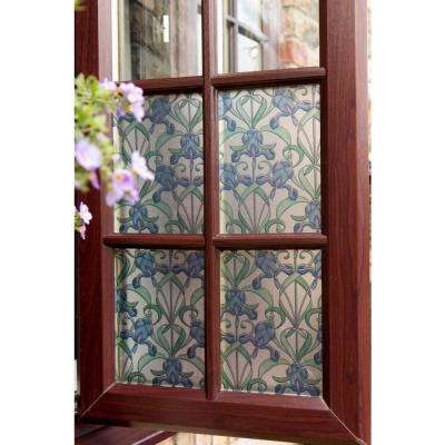 Minster/Iris Blue 17 in. x 78 in. Stained Glass Self-Adhesive Window Film ( 2-Pack)