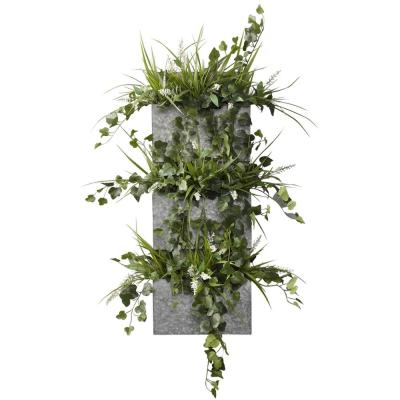 Indoor Wild Ivy and Grass in Wood and Metal Wall File
