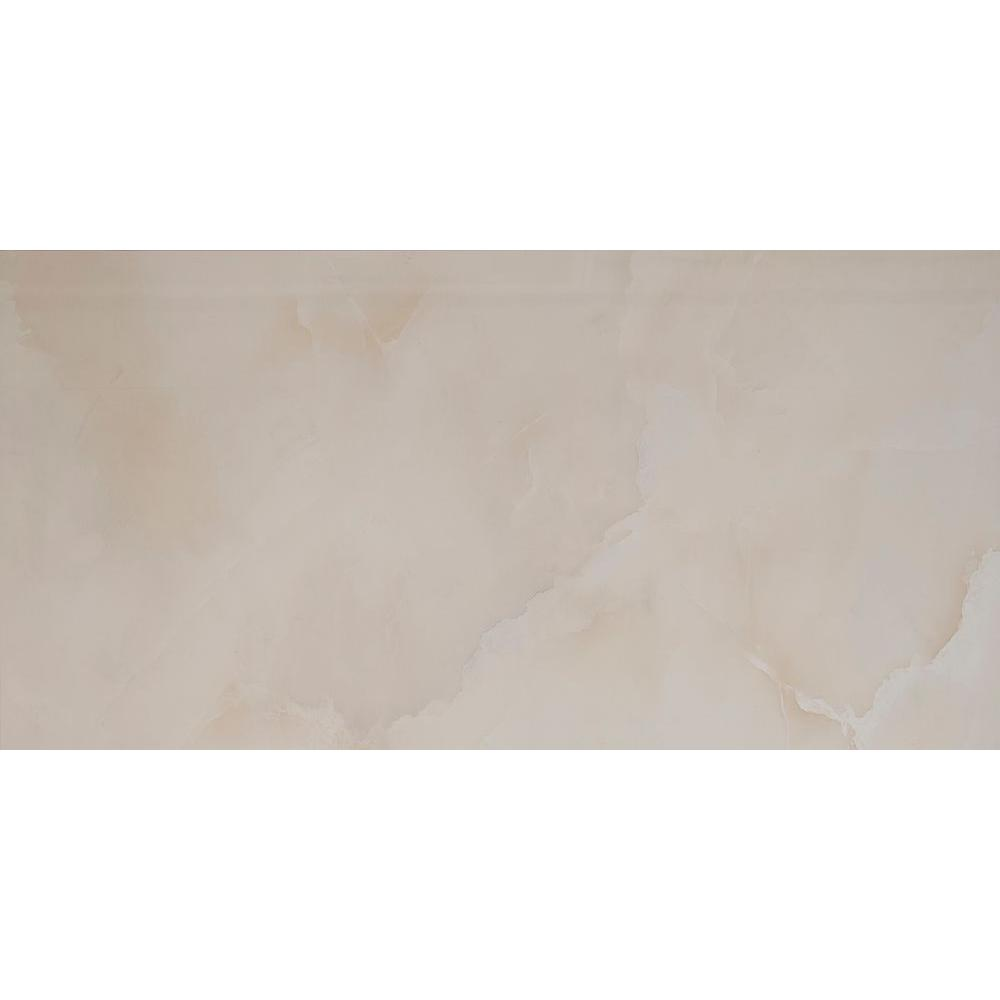 Onice Ivory 12 in. x 24 in. Polished Porcelain Floor and