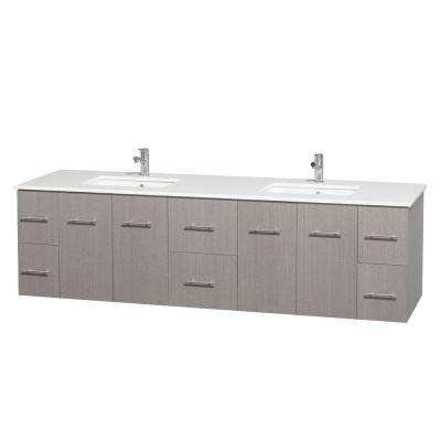 Centra 80 in. Double Vanity in Gray Oak with Solid-Surface Vanity Top in White and Under-Mount Sinks
