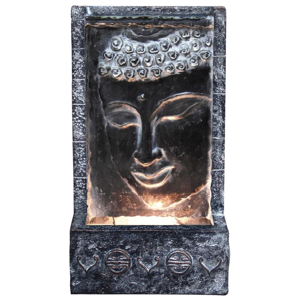 Alpine Buddha Wall Fountain With Light Zen204 The Home Depot