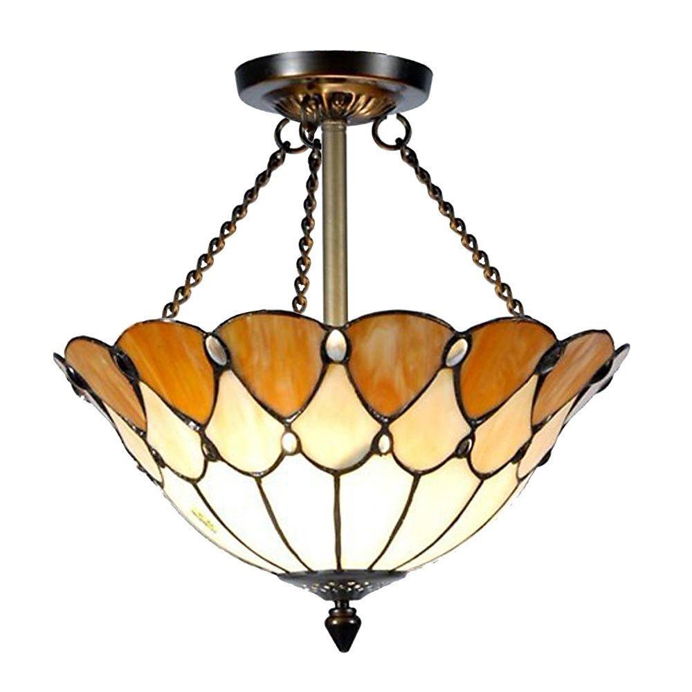 Tiffany Jeweled 2-Light Antique Bronze Semi-Flush Mount Light