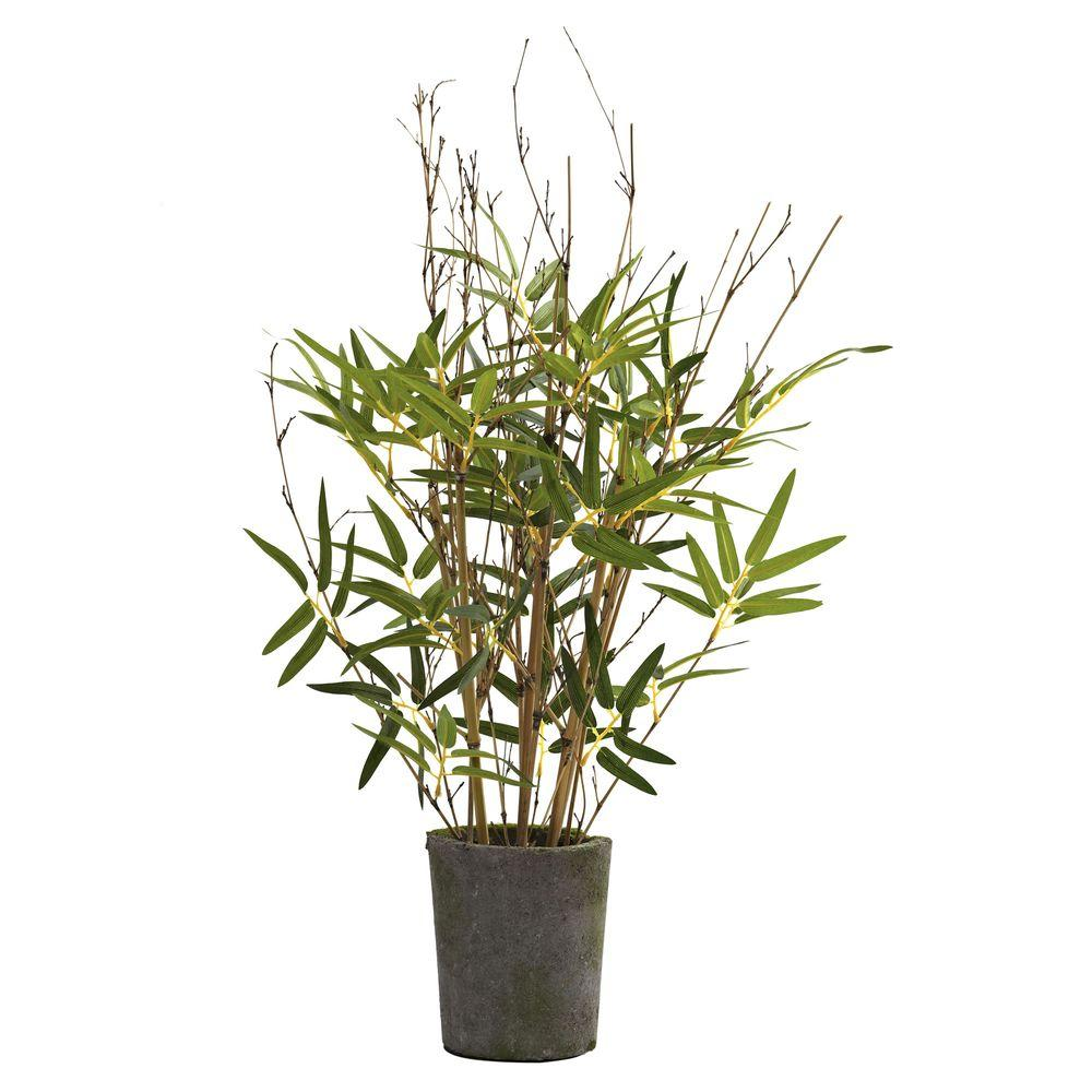 Nearly Natural 27 in. Bamboo Tree with Cement Pot