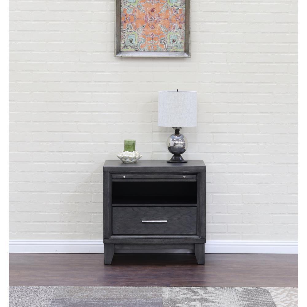 Chelsea 1-Drawer Gray Wash Nightstand 7032GW
