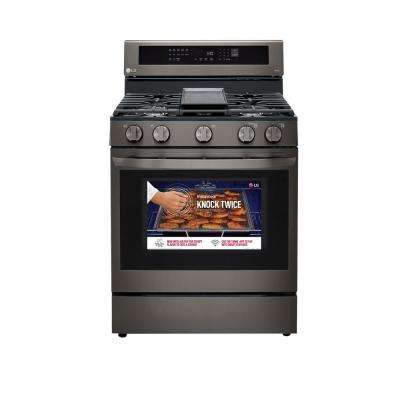 5.8 cu. ft. Smart Wi-Fi Enabled True Convection InstaView Gas Range Single Oven with Air Fry in Black Stainless Steel