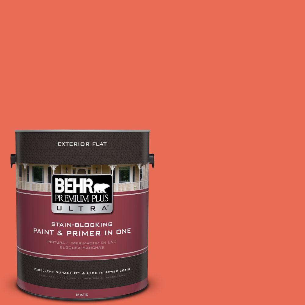 1-gal. #190B-6 Wet Coral Flat Exterior Paint