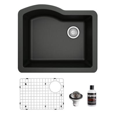 QU-671 Quartz/Granite Composite 24 in. Single Bowl Undermount Kitchen Sink with Grid and Basket Strainer in Black