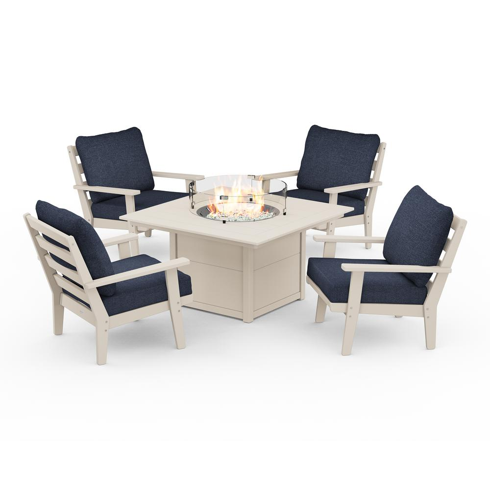 POLYWOOD Grant Park 5-Piece Plastic Patio Deep Seating Conversation Set with Fire Pit Table with Stone Blue Cushions