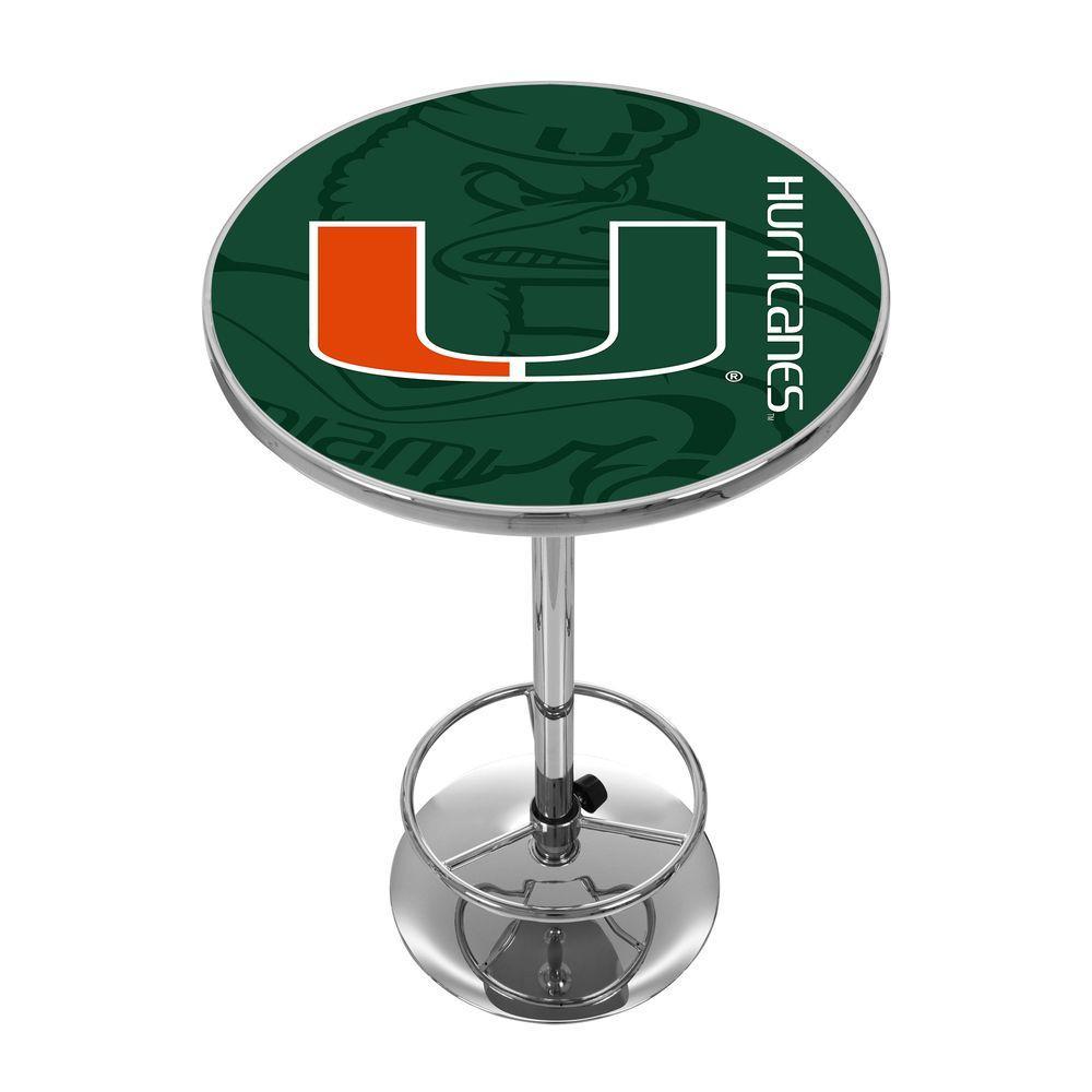Trademark University of Miami Fade Chrome Pub/Bar Table