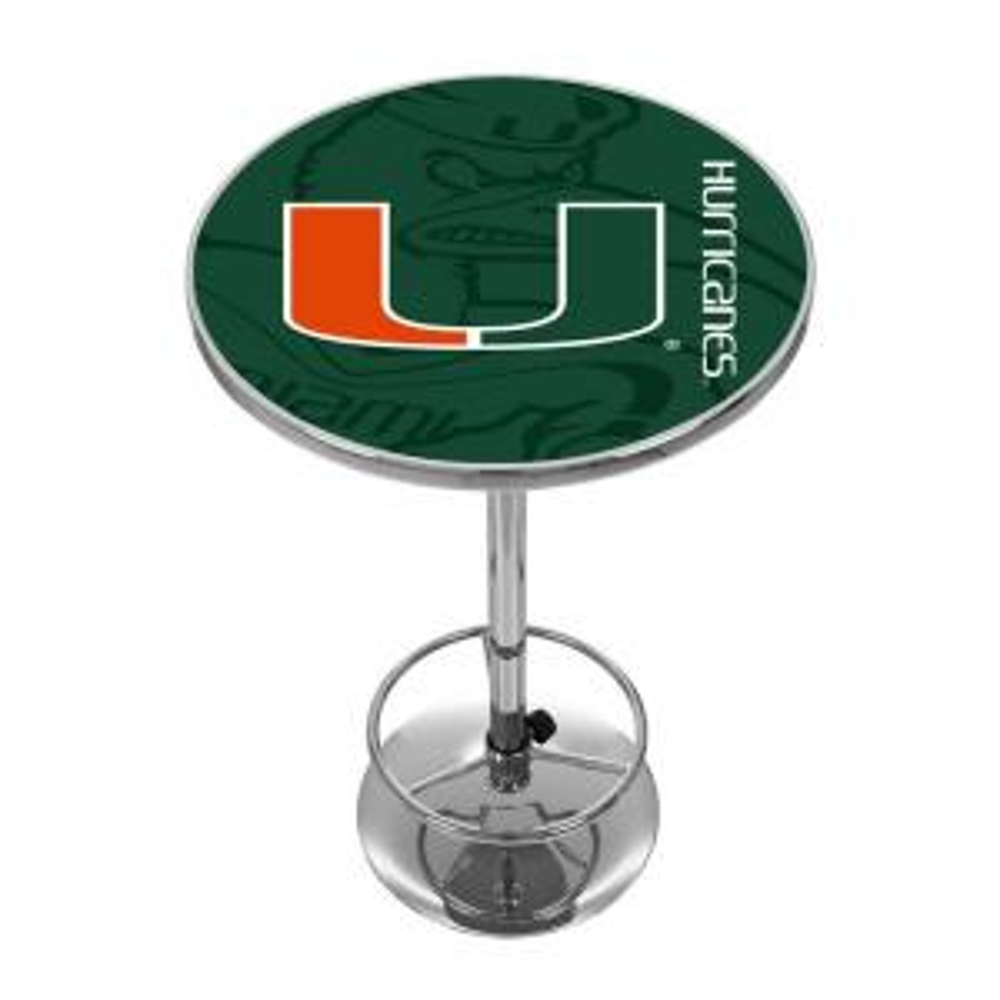 University of Miami Fade Chrome Pub/Bar Table