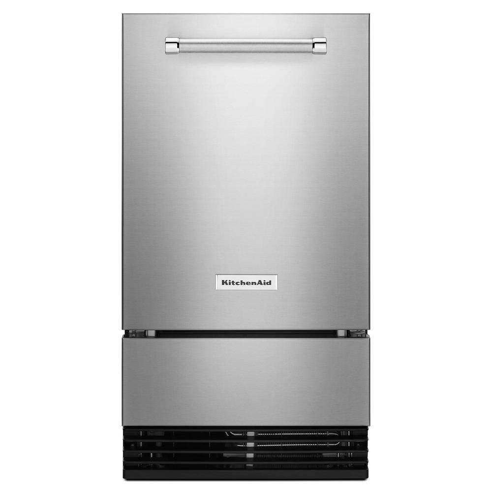 KitchenAid 18 in. 50 lb. Built-in Ice Maker in Stainless Steel, Outdoor  Rated