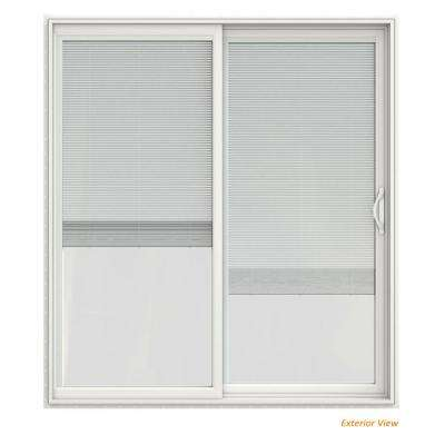 72 in. x 80 in. V-2500 White Vinyl Right-Hand Full Lite Sliding Patio Door w/White Interior & Blinds