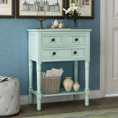 Retro Blue Narrow Console Table with 3-Drawers and Shelf