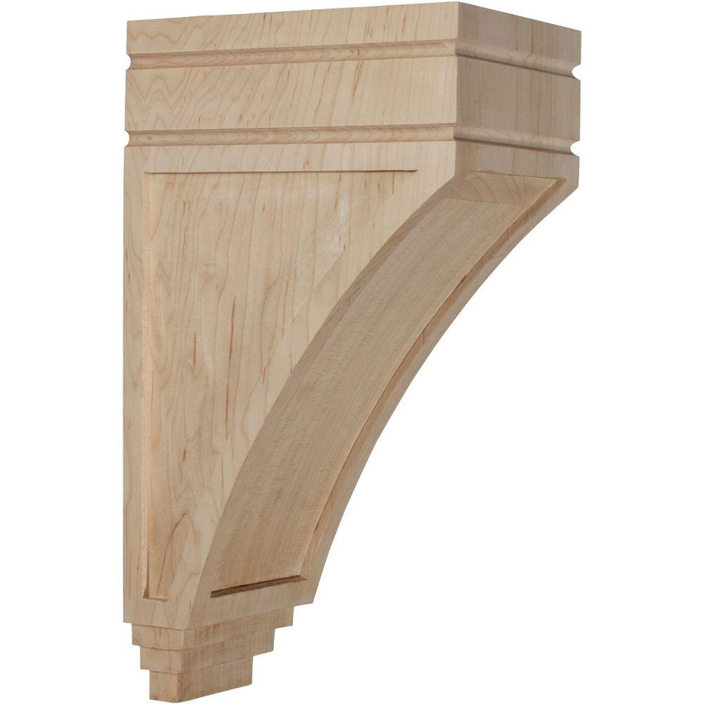 Ekena Millwork 7-3/4 in. x 5 in. x 14 in. Unfinished Wood Red Oak Large San Juan Wood Corbel